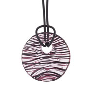 Murano Glass Opaque Red Stripes Round Pendant Necklace Earrings