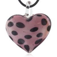 Murano Glass Light Purple Spotted Heart Pendant Necklaces Earrings