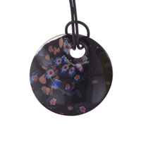 Murano Glass Round Black White Flowers Red Pistil Pendant Necklace Earrings