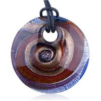 Murano Glass Round Multicolored Spiral Pendant Necklaces