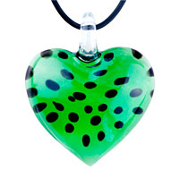Black Dots Green Heart Shape Murano Glass Pendant Necklace
