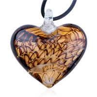 Black Stripe Amber Heart Murano Glass Lampwrok Pendant Necklace