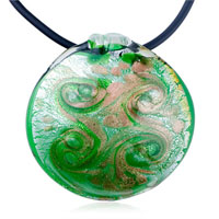 Golden Green Round Murano Glass Pendant Necklace