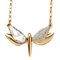 Golden Dragonfly Crystal April Birthstone Clear Utopian Drop Pendant Necklace For Women