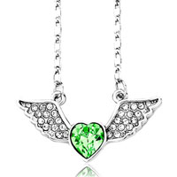 Crystal Angel Wing Necklace 12 Colors Birthstone Heart Swarovski Elements