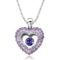 Heart Violet Light Amethyst Tanzanite Swarovski Crystal Dangle Round Pendant Necklace Earrings