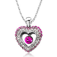 Heart Clear Rose Fuchsia Swarovski Crystal Dangle Rhinestone Round Pendant Necklace