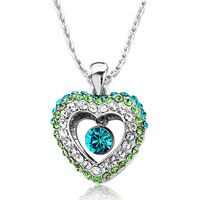 Heart Clear Peridot Blue Zircon Swarovski Crystal Dangle Round Pendant Necklace For Women