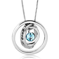 Trinity Ring Hoops Necklace Aquamarine Blue Swarovski Elements Crystal Bithstone Pendant