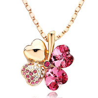 Four Leaf Clover October Birthstone Rose Swarovski Crystal Hearts Golden Pendant Necklace For Women