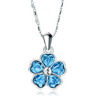 Flower March Birthstone Aquamarine Swarovski Crystal Hearts Petal Pendant Necklace For Women
