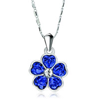 Flower September Birthstone Sapphire Swarovski Crystal Hearts Petal Pendant Necklace