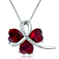 Womens Clover January Birthstone Siam Crystal Heart Pendant Necklace