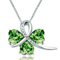Clover August Birthstone Peridot Swarovski Crystal Hearts Pendant Necklace For Women