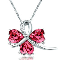 Clover October Birthstone Rose Swarovski Crystal Hearts Pendant Necklace For Women