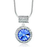 Karma Necklaces Round Clear Light Sapphire Crystal Cubic Necklaces Pendant
