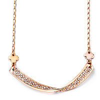 Rose Gold Love Bow April Birthstone Clear Crystal Pendant Necklace