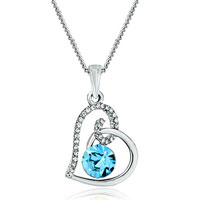 Heart Clear Crystal March Birthstone Aquamarine Swarovski Crystal Pendant Necklace For Women Earrings