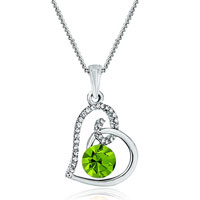 Heart Clear Crystal August Birthstone Peridot Swarovski Crystal Pendant Necklace For Women