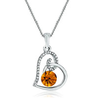 Heart Clear Crystal November Birthstone Topaz Swarovski Crystal Pendant Necklace For Women Earrings