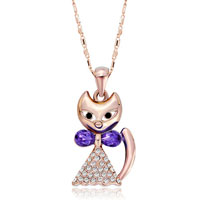 Rose Gold Cat Clear Crystal Cz February Tanzanite Pendant Necklace Earrings