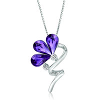 Flower Swirl Stem Tanzanite Swarovski Crystal Petal Pendant Necklace For Women Earrings