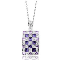 Rectangle Tanzanite Violet Crystal Square Pendant Necklace For Women