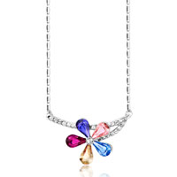 Colorful Crystal Flower Bent Stem Clear Pendant Necklace For Women