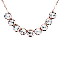 Rose Gold Rounds April Birthstone Clear Swarovski Crystal Pendant Necklace For Women