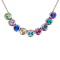 Rose Gold Rounds Colorful Swarovski Crystal Pendant Necklace For Women