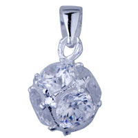 925 Sterling Silver Crystal Studded Ball Pendant Necklace Sterling Silver Pendant