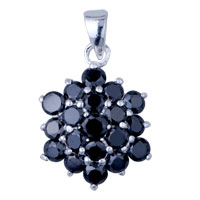 925 Sterling Silver Black Crystal Sudded Hexagon Pendant Necklace Sterling Silver Pendant