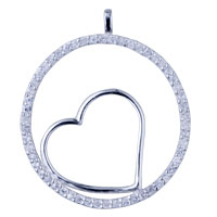 925 Sterling Silver Circle And Heart Pendant Necklace Sterling Silver Pendant