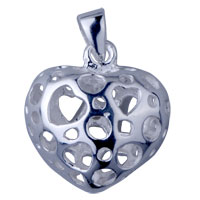 Filigree Vintage Antique 925 Sterling Silver Heart Shaped Heart Pendant Necklace Sterling Silver Pendant