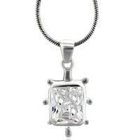 Sterling Silver Clear Cz Necklace Pendant Sterling Silver Pendant