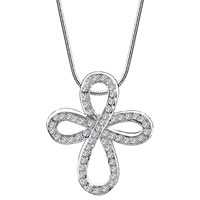Cross Necklaces Sterling Silver Open Asscher Cut Cz Celtic Cross Pendant