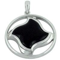 Black Twisted Square Symbol Pendant Necklace