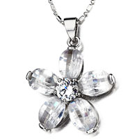 April Birthstone White Crystal Pendant Necklace