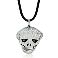 Silver Tone Halloween Skull Murano Glass Pendant Necklace Earrings