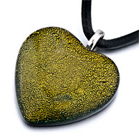 Yellow Dichroic Glass Heart Shaped Pendant Necklace Earrings