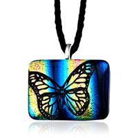 Butterfly Blue Yellow Square Murano Glass Lampwork Pendant Necklace