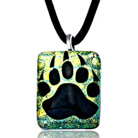 Dog Paw Print Murano Glass Pendant Necklace Earrings