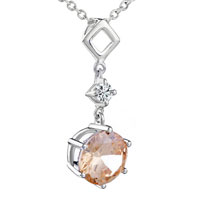 Square Circular November Yellower Swarovski Crystal Pendant Necklace