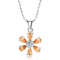 Sterling Silver Sunflower Yellower Swarovski Crystal Pendant Necklace