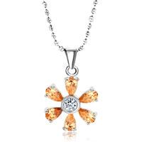 Sterling Silver Sunflower Yellower Swarovski Crystal Pendant Necklace