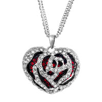 Fashion Hollow Rose Red Love Heart January Crystal Pendant Necklace Earrings