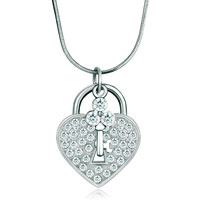 Love Heart Clear Crystal Lock Key Pendant Necklace For Women Earrings