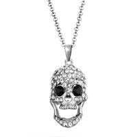Halloween Laughing Vivid Skull Clear Crystal Cz Pendant Necklace Earrings