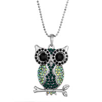 Vintage Green Crystal Owl Pendant Necklace Women Gifts Earrings