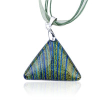 Green Triangular Fused Dichroic Glass Pendant Necklace